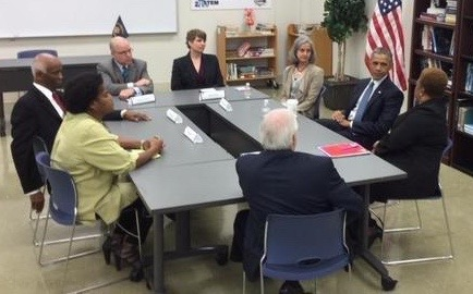 Alabama predatory lending advocates meet with President Obama on March 26, 2015.